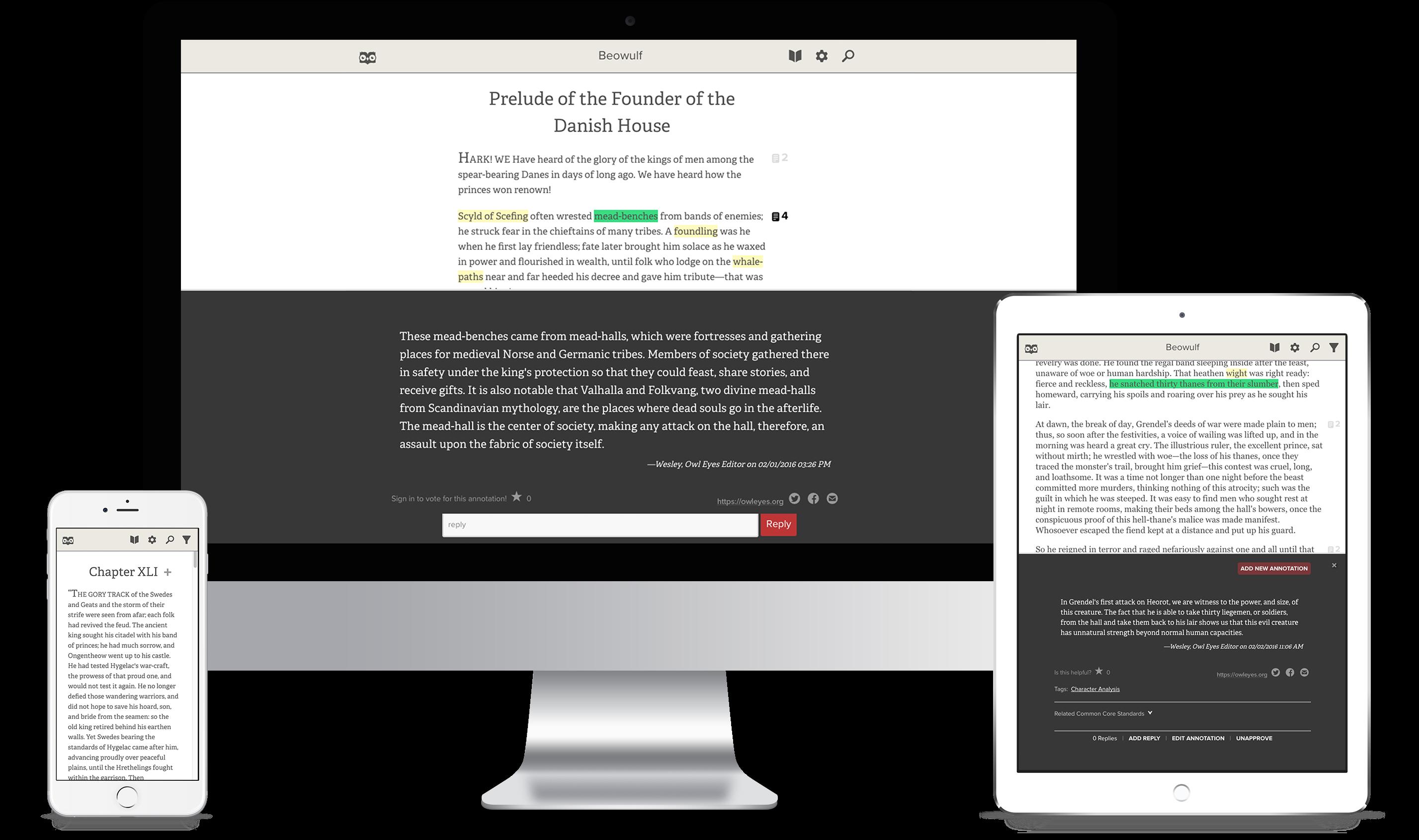 Owl Eyes on Desktop and Mobile