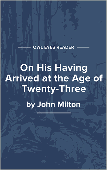 On His Having Arrived at the Age of Twenty-Three Cover Image