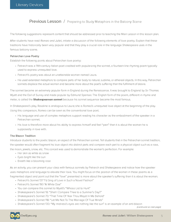 Romeo And Juliet Literary Devices Lesson Plan Page 5