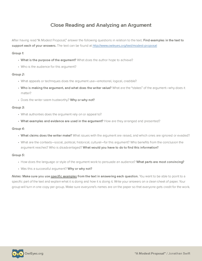 A Modest Proposal Argument Analysis Activity Owl Eyes