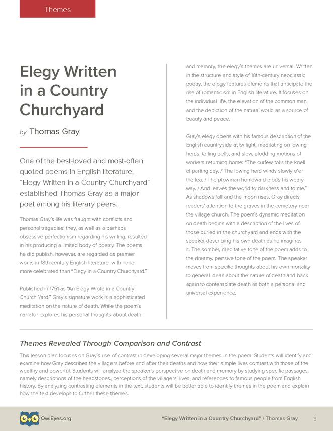 elegy written in a country churchyard theme
