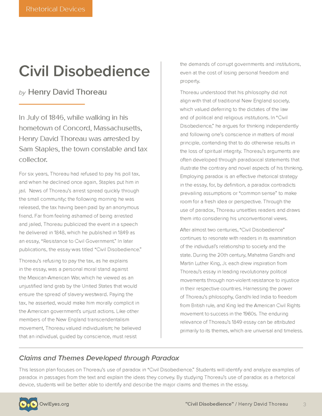 Essay on disobedience