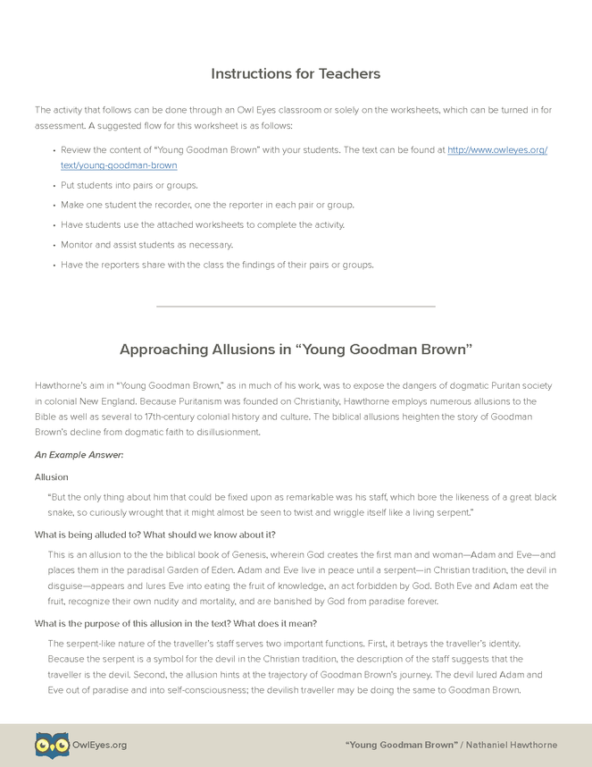 Young Goodman Brown Allusion Activity - Owl Eyes