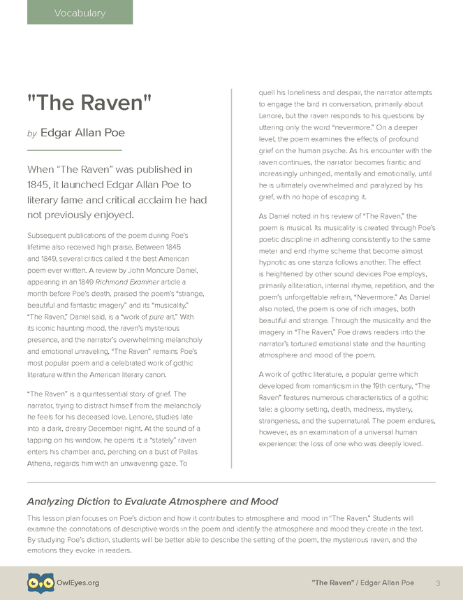 The Raven Vocabulary Lesson Plan Owl Eyes