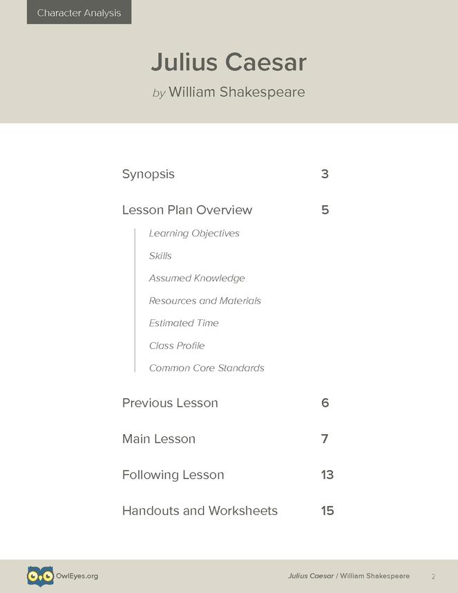 Julius Caesar Character Analysis Lesson Plan - Owl Eyes